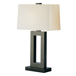 Robert Abbey - Doughnut Table Lamp - Illuminate your favorite contemporary setting with this simply elegant table lamp. Strong lines from the ebony base, fabric shade and metal body (available in your choice of brass, silver or bronze finish) make a handsome style statement in your decor.