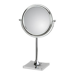 "WS Bath Collections - Doppiolo Free Standing Magnifying Cosmetic Mirror - Features: -Mirror Pure collection. -Free standing magnifying cosmetic mirror. -Available in eight finishes. -Available in 3X or 6X magnifications. -Features removable base and folding arm. -Made in Italy. -No distortions. -Made in Italy. Specifications: -Manufacture provides one year warranty. -Dimensions: 11.8"" diameter x 7.1"" ."