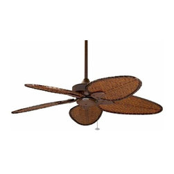 Fanimation - Fanimation Windpointe 5 Blade Unipack RS Ceiling Fan in Rust - Fanimation Windpointe 5 Blade Unipack RS Model FP7500RS in Rust with Antique Narrow Oval Woven Bamboo (damp rated) Finished Blades.