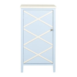 Safavieh - Mary Cabinet - Crisp color and charming simplicity give the Mary small cabinet a fashion edge. Crafted of light blue finished poplar with interior shelves, Mary makes storage a breeze in the bath, next to the bed or wherever a place to contain clutter is needed. Contrasting top and x-details on the front, lend the right touch of visual interest.