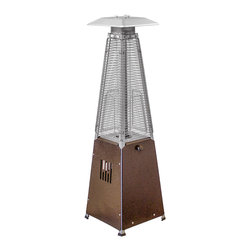 AZ Patio Heaters - Portable Quartz Glass Tube Patio Heater - Hammered Gold - 39in. tall radiant heat portable glass tube outdoor patio heater with hammered bronze finish. Access door design. Quartz glass tube. 10,000 BTU's, variable control. Thermocouple and anti-tilt safety devices. Uses a 1-pound propane tank (not included).
