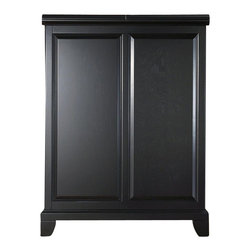 "Crosley Furniture - Newport Bar Cabinet in Black - Beautiful Raised Panel Doors. Brushed Nickel Hardware. Plenty of Room for Storing Barware & Spirits. Doubles as a Serving Station when Entertaining. Adjustable Levelers in Legs. Expands to 62 1/2"" Wide when Open. Solid Hardwood & Veneer Construction. Front & back of bar have matching finish. 42in. H x 31.25in. W x 22in. D (150 lbs)Constructed of solid hardwood and wood veneers, this Expandable Bar Cabinet is designed for longevity. The beautiful raised panel doors provide the ultimate in style to dress up your home. The doors open and top folds out to double the size of your entertaining / serving area. Inside the doors, you will find plentiful storage space for spirits, glassware, and a host of other bar items. The center cabinet features 16 bottle wine storage, utility drawer, hanging stemware storage, and extra space for a variety of other barware."