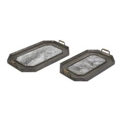 """IMAX CORPORATION - Victoria Vintage Trays - Set of 2 - Antiqued, tarnished metal give this set of two trays the perfect patina. Beautiful and functional, these trays make a great addition to your decor. Set of 2 in various sizes measuring around 25.5""""L x 6.5""""W x 35.75""""H each. Shop home furnishings, decor, and accessories from Posh Urban Furnishings. Beautiful, stylish furniture and decor that will brighten your home instantly. Shop modern, traditional, vintage, and world designs."""