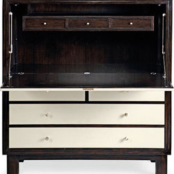 Griffeth Secretary - This secretary with walnut veneer and a leather insert top would be great used as a bedside table.