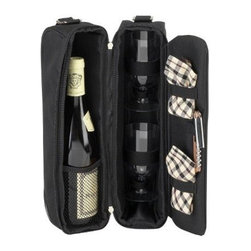 Picnic at Ascot - London Sunset Wine Carrier, Black/Plaid by Picnic at Ascot - Our London Sunset Wine Carrier in Black/Plaid by Picnic at Ascot is a top quality deluxe wine holder with glasses featuring state of the art Thermal Shield insulation to maintain wine at the perfect temperature. The glass compartment can be used to hold a second bottle.