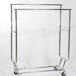 Z Racks - Collapsible Double Rail Salesman's Rack - Capacity: 250lbs. 4 in. ball bearing casters. Hanging bars adjust from 48 to 60 inches long. Adjustable height from 56 to 65 inches tall. Hangrails are approx 2 ft. apart. Includes clips for hangrailsCalled the Salesman's Rack because it is relied on by business travelers in many industries. This rack is designed to fold down to five inches high. But even though it can fit in the trunk of your car, the double rail rack can also hold 250 lbs of apparel. With two 12 in. extensions and adjustable height, you don�۪t have to limit this rack to travel���it�۪s also perfect for everyday needs.