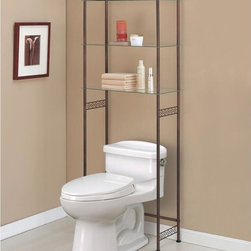 Organize It All - Organize It All Morocco Spacesaver - Save space by storing bathroom essentials and decorations on this stylish Morocco shelving unit. This piece has three tempered glass shelves and an oil rubbed bronze finish that will compliment any existing decor.