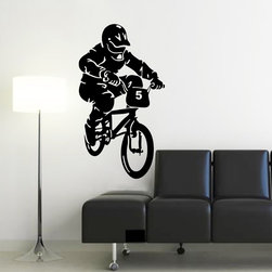 ColorfulHall Co., LTD - Bicycle Race Cars Fitness Wall Decals - You will find hundreds of affordable peel - and - stick wall decal designs, suitable for all kinds of tastes and every room in your house, including a children's movie theme, characters, sports, romantic, and home decor designs from country to urban chic. Different from traditional decals, vinyl wall decals is with low adhesive that allows you to reposition as often as you like without damaging the paint. Application is easy: peel offer the pre-cut elements on the design with a transfer film, and then apply it to your wall. Brighten your walls and add flair to your room is just as easy.
