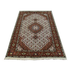 1800-Get-A-Rug - Wool and Silk Ivory Tabriz Mahi Oriental Rug 250 kpsi Handmade Sh19815 - Our fine Oriental hand knotted rug collection consists of 100% genuine, hand-knotted and hand-woven rugs from Persia, China, and other areas throughout Asia. Classic, traditional, and offered in a wide range of elaborate designs, every handmade rug is guaranteed to serve as a beautiful and striking element in any interior setting.