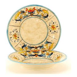 Artistica - Hand Made in Italy - RINASCIMENTO: Pasta/Soup Plate - The Rinascimento is an exclusive design for Artistica by the Umbrian renown artist Rale of OperaNova.