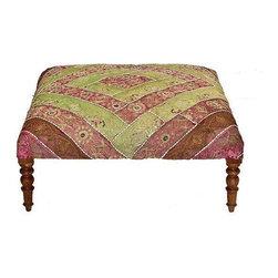Used Vintage Saree Tapestry Ottoman Intricate Artisanal