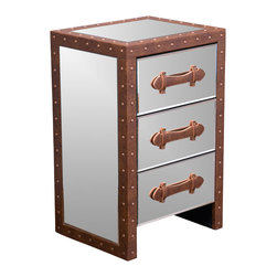 Great Deal Furniture - Adeline Mirrored Bonded Leather Accent 3-Drawer Nightstand - Give your home decor an elegant feel with the Adeline Mirrored 3-Drawer Nightstand. This unique nightstand is a great storage piece and will enhance the surrounding decor with its innovative mirrored finish. Embellished with brown bonded leather accented throughout this piece will create a statement that will last in any room you place it in.