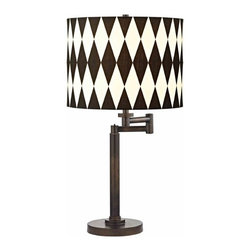 Design Classics Lighting - Modern Swing Arm Lamp with Black Shade in Bronze Finish - 1902-1-604 SH9491 - Contemporary / modern remington bronze 1-light table lamp. Swing arm has a maximum 9-inch extension. Takes (1) 100-watt incandescent three-way bulb(s). Bulb(s) sold separately. UL listed. Dry location rated.