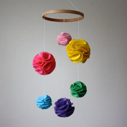 Modern Nursery Mobile Pom Pom Mobile, Rainbow by Little Nest Box - Colorful hanging pom-poms will brighten up any ceiling.