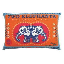 Koko Company - Koko Company Two Elephants Fine Quality Rice Pillow - This pachyderm print brings tons of style to your favorite setting. Bold color, pure cotton and imagery inspired by vintage Indian rice sacks — it's the perfect pick-me-up for your decor.