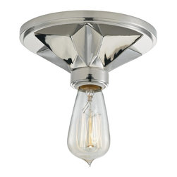 Hudson Valley - Hudson Valley 4080-PN 1 Light Flush MountBethesda Collection - While Bethesda's roots are rustic, its modern poise calls to current tastes. At the frontier of bold design, we brand Bethesda's six-point star base with classic American inspiration. Hand-worked finishes and light, eco-paper shades soften the look for