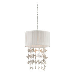 Sterling Industries - Sterling Industries 122-010 Butterfly 1 Light Pendants in White - Butterfly Drum Pendant