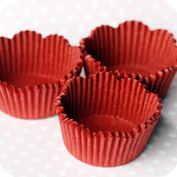 Red Scalloped Baking Cups - These cupcake liners are adorable, and they would be a fun touch to add to any Valentine dessert.