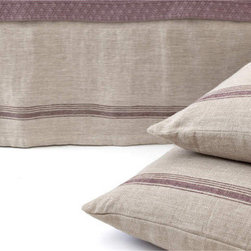 Pine Cone Hill Tea Towel Linen Stripe Plum Bed Skirt - Picture plum walls in the bedroom paired with this pretty bedding edged in plum.