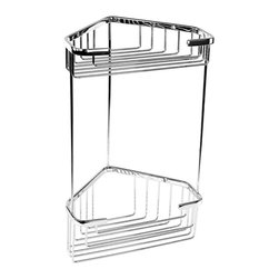Gedy - Corner Chrome Double Shower Basket - Save shower space by installing this Art Deco inspired corner chrome shower basket. This useful little beauty has two shelves for optimal storage, and affixes easily to your wall with the included screws.