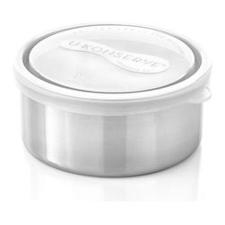 U Konserve® Round Stainless-Steel Container with Clear Lid - Leak-proof, utilitarian container is a prep-worthy and portable option for food storage of all kinds. Non-toxic construction with airtight plastic lid and stainless-steel base that won't retain odors and flavors.