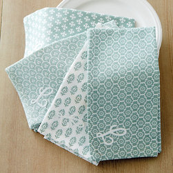 Ballard Designs - Set of 4 Edie Block Print Napkins - Made of 100% cotton. Colors coordinate with our Brigitte Dinnerware & Serveware. Monogram available.. Monogram will be placed in one corner of the tablecloth. Monogram will be placed in the bottom center of one end of the table runner. With soothing neutral tones and traditional Indian block print motifs, our Edie Block Print Table Linen Collection brings a casual elegance to any table. Available in Oyster, Sage or Spa, each color has its own pattern. Patterns mix and match for a beautifully coordinated look. Edie Block Print Table Linen Collection features: . .  . . . Monogram will be placed in one corner of each napkin. Machine wash.