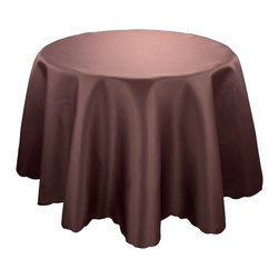 """Xia Home Fashions - Samantha Collection, Coffee, 90"""" Round - These solid color table liners are a great foundation for your exquisitely planned setting! Available in red, blue, ivory, white, green, gold, coffee and black; there is sure to be a color for any occasion!"""