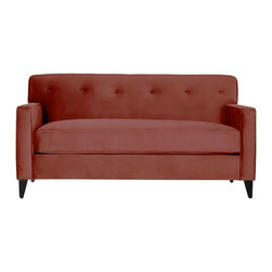 Apt2B - Harrison Apartment Size Sofa, Poppy - Every room needs a retro flair and the Harrison won't disappoint. This tight back tufted sofa keeps a clean silhouette while still being comfortable. Perfect for a small space because it visually doesn't take up too much space. Each piece is expertly handmade to order in the USA and takes around 2-3 weeks in production. Features a solid hardwood frame and upholstered in stain resistant smooth microfiber fabric.