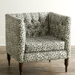 "Horchow - Bosana Tufted Armchair - LEOPARD - GRAY - Bosana Tufted ArmchairDetailsEXCLUSIVELY OURS.Handcrafted square tub chair.Pine frame.Leopard-print linen upholstery.Handcrafted diamond tufting.Plush foam padding.33""W x 28""D x 33""T.Made in the USA.Boxed weight approximately 48 lbs. Please note that this item may require additional shipping charges."