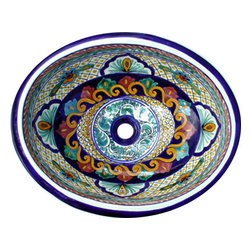 Casa Daya Tile - Made to order Talavera Hand Painted Spanish Style  Sink, Small - The styles are influenced by the beautiful Spanish architecture in the Guanajauto state of Mexico from the time the Spanish inhabited the area starting in the 1520's.