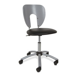 Studio Designs - Contemporary Office Chair with Casters - Five Star Metal Base. Casters for Mobility. Meets / Exceeds ANSI-BIFMA Standards. Unique Contemporary Design. Pneumatic Height Adjustment: 18 in. to 23 in. High. 23 in. W x 23 in. D x 32.5 in. -37.25 in. H