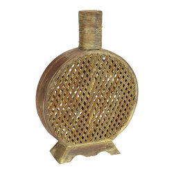 Nearly Natural - Open Weave Decorative Vase - Arguably one of our more interesting looking pieces, this flask shaped vase is decorated with a tan and gold finish to create an 'old fashioned' look (while being very modern). Sitting on an outward rectangular base for stability, the see-though cross hatching creates an interesting pattern of shadow and light while the top draws attention to any Nearly Natural foliage you set inside. It also looks great solo.