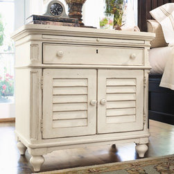 Paula Deen Home - Steel Magnolia 1 Drawer Nightstand - Features: -Laminated pull-out shelf.-Two louvered doors with an adjustable wooden shelf behind doors.-Distressed finish accentuates country design.-Steel Magnolia collection.-Distressed: Yes.-Collection: Steel Magnolia.