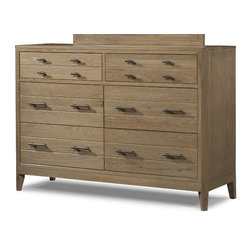 Cresent Fine Furniture - Cresent Fine Furniture Hampton Dresser in Sand - Bring a convenient storage piece to your master retreat with the Hampton Dresser. Crafted from solid wire brushed oak, it has quality construction from responsibly harvested solid oak that is durable and long-lasting. Six drawers provide plentiful space to tuck away clothing and apparel items like shirts, pants, jeans, and more. The bottom drawers are cedar-lined while the top feature a removable jewelry tray and felt-lining. Choose from a light cerused Sand finish or a darker Black Tea finish with graphite cerusing.