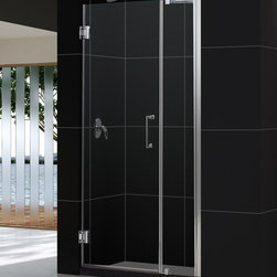 "Dreamline - UNIDOOR Frameless 36-37"" Adjustable Shower Door Chrome - Product Type: Shower Door Glass type: Clear 3/8 (10mm) thick tempered glass Hardware finish: Chrome Self-closing solid brass wall mounted hinges.  Glass door is reversible for left-wall or right-wall installations.  Shower Door includes a 12 inches stationary glass panel with a full length aluminum wall profile, adjustable by 1 inches.  Door kit includes wall support arm hardware required for stationary panel installation.  Door opening (door swing dimension): 24 inches Dimensions: UNIDOOR models come with a fixed door height of 72 inches Self-closing solid brass wall mounted hinges (5 degree offset) Assembly is required Materials: Tempered Glass, Aluminum Profiles, Brass Hinges"