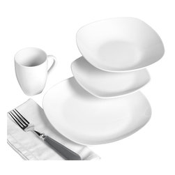 Tabletops Unlimited - 16 Piece Quinto Soft Square Dinnerware Set - Dishwasher Safe.  Microwave Safe.  Oven Safe up to 400 °F. Material: Porcelain . (4) 10.5 in. Dinner. (4) 8 in. Salad. (4) 9 in. Soup. (4) 11oz MugWhite porcelain Mother Nature's way (no unnatural whiteners or additives).This Quinto 16-piece White Porcelain Square Coupe Dinnerware Set is perfect for your healthy casual lifestyle. Made from white porcelain as nature intended - with no whitening agents or metal-based color additives It's strong enough for everyday use, yet fashionable enough for casual dining and entertaining.