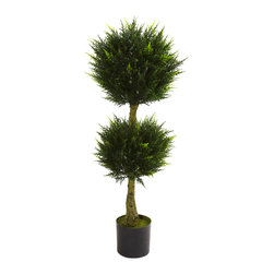 Nearly Natural - Nearly Natural 4' Double Ball Cypress Topiary UV Resistant (Indoor/Outdoor) - The double ball topiary is one of our favorite decorating pieces. It signifies not only nature's beauty, but also gardening skill. This wonderful Cypress double ball topiary is perfect in every way, looking like it was just trimmed, and makes an interesting home or office decoration. Fully UV resistant, it'll find a home anywhere - even your back patio. Makes a fine gift as well.