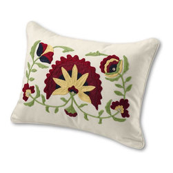 """12"""" x 16"""" Floral Embroidered Decorative Pillow Cover - This beautiful embroidered pillow adds vibrant color and an exotic look to any room in your home."""