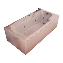 Spa World Corp - Atlantis Tubs 3260EDL Eros 32x60x23 Inch Whirlpool Jetted Bathtub - The Eros collection features luxuriously designed corner bathtubs, with a traditional oval interior. Molded floor pattern prevents bathers from falling, while adding a piquant flavor to the bathtub's design. Lightweight construction makes installation quick and easy. Interior armrests provide luxury and comfort. The Atlantis whirlpools jet massaging action is created by combining hot water with air bubbles and moving the mixture at high speeds through jet nozzles. These streams of water loosen tight muscles and stimulate the release of endorphins, the body's natural painkillers, helping to melt away any aches and pains. The overall effect leaves you feeling physically, mentally and emotionally relaxed and refreshed. Drop-in tubs have a finished rim designed to drop into a deck or custom surround. They can be installed in a variety of ways like corners, peninsulas, islands, recesses or sunk into the floor. A drop in bath is supported from below and has a self rimming edge that is designed to sit over a frame topped with a tile or other water resistant material. The trim for the air or water jets is featured in white to color match the tub.