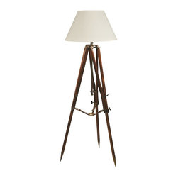 Campaign Tripod Lamp - Natural - Authentic Models. Metal, Wood and Leather. 24w x 24d x 31h. Available for order at Warehouse 74.