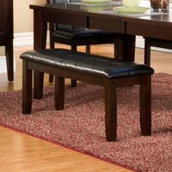 Alpine Furniture - Alpine Furniture Havenhurst Bench - Merlot Multicolor - 8932-03 - Shop for Dining Chairs from Hayneedle.com! For maximum seating and minimum profile choose the Alpine Furniture Havenhurst Bench - Merlot to complete your dining set. This elegant bench boasts room for up to three people yet is small enough to fit into a closet when not needed. It s made from acacia solids and birch veneers that are finished with a rich Merlot stain. Black faux leather upholstery envelops the cushioned seat.About Alpine CorporationAlpine Corporation has offices in Arizona Colorado Florida Iowa and Ohio. With a firm belief in the free enterprise system Alpine Corporation promotes equal treatment for customers employees shareholders suppliers and the community. Alpine Corporation carries a vast array of items including fountains pond and garden accessories and statuary and carries lighting and parts as well. A steadfast goal for Alpine Corporation is to continually exceed their customers' increasing expectations.