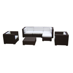 MangoHome - Outdoor Wicker Sofa Sectional 7Piece Couch Set - This amazing outdoor sectional set comes in 7 different pieces. It is very functional, stylish and designed to meet your needs! Look at our pictures to view all of the possibilities! Each wicker set is hand crafted by trained professionals with premium quality materials assuring your set will last many years!