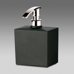 Windisch - Squared Black Frosted Crystal Glass Soap Dispenser - Contemporary style, square frosted or satin black crystal glass soap dispenser. Luxury quality and decorative hand soap dispenser. Bathroom soap dispenser pump is made from polished chromed brass. Made in Spain by Windisch. Frosted or satin black crystal glass. Decorative, luxury quality hand soap dispenser. Pump made from chromed brass. From the Windisch Box Crystal Lineal Collection.