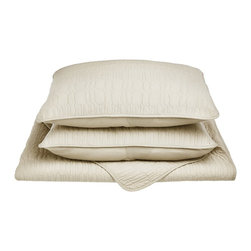 McKinley Quilt Set - Twin/Twin XL - Ivory - The McKinley Quilt Set features an embroidered cobblestone pattern and is available in five different colors. This set is made of 100% cotton and includes (1) Quilt: 68x86 and (1) Pillowshams: 20x26.