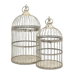 """IMAX - Vellita Bird Cages - Set of 2 - With antiqued white finish, our Vellita Bird Cages are expertly crafted from iron and exude Old World charm. Whether used as a home accent, or for your feathered friend, these cages aren't just for the birds.  Item Dimensions: (47-58""""h x 27-30""""w x 27-30"""")"""