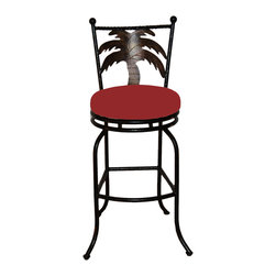 "Surf Side Patio - Tahiti Swivel Bar stool , Jockey Red, 30"" Bar Height - Accent your breakfast bar, home bar, tiki bar or patio with the hand crafted, wrought iron Tahiti Swivel Bar stool with a beautiful Palm Tree gracing the back of the chair.  Made from thick guage, powder coated wrought iron, these gorgeous bar stools swivel 360 degrees and bring a tropical touch to any area of your home, outdoor or indoor."