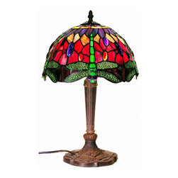 Warehouse of Tiffany - Tiffany-style Purple/Red Dragonfly Lamp - This elegant dragonfly Tiffany-style table lamp is a distinctive addition to any home or office space. Echoing the original design of Louis Comfort Tiffany lamps, this handcrafted stained glass table lamp features jewel tones of purple, red, and green.