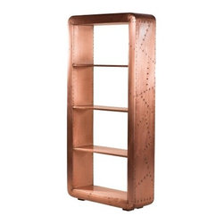 YOSEMITE HOME DECOR - Book Case - Copper, yes it's copper. This unique three shelf bookcase will turn heads everywhere. Genuine aged copper cladding covers the entire front, sides and top of this stunning piece. Lacquered for durability and long lasting beauty. Three shelves  provide ample display space . Do not use abrasive or ammonia based cleaners. Assembled and Made in India.   Item Dimensions are 36inches Width X 13inches Depth X 71inches Height