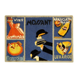 Safavieh - Blue and Multi Rug with French Theme (2 ft. 9 in. x 4 ft. 9 in.) - Size: 2 ft. 9 in. x 4 ft. 9 in. Hand Hooked. An intriguing French themed design highlights this rectangular wool area rug, a vibrant addition to any decor. Designed in the style of vintage advertising posters, the rug is finished in blue with multicolored accents.