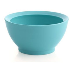 Calibowl® Nonslip Aqua Sky Prep Bowl - Ingenious design renders this bright, eco-friendly bowl not only nonslip but non-spill as well. Designed by a California surfer, a special angled rim based on the physics of waves keeps food contained for prep or snacking. Multiple bowls nest for convenient storage. Calibowl® was awarded a 2012 Export Achievement Award by the U.S. Department of Commerce for American job creation.